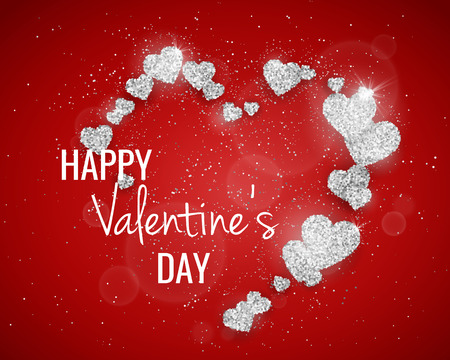seasonal symbol: Vector Happy Valentines Day greeting card with sparkling glitter silver textured hearts on red background. Seasonal holidays background with love symbol Stock Photo