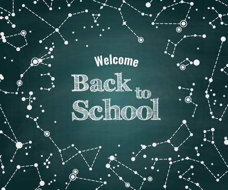 camelopardalis: Vector Back to school green chalkboard background with constellations