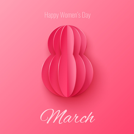 women's fashion: Vector March 8 invitation card. Happy International Womens Day background with with paper cut figure 8.