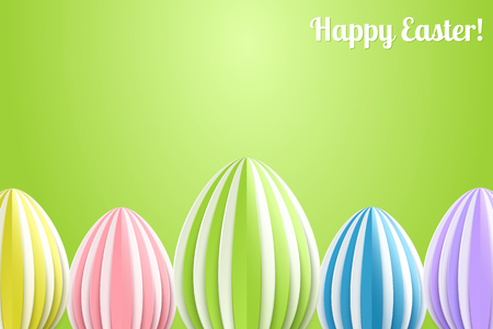 background color: Vector Happy Easter Greeting Card with Color Paper Easter Eggs on Green Background Illustration