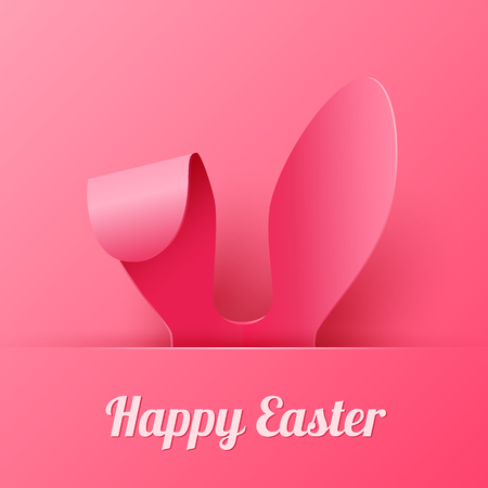 Vector Happy Easter Greeting Card with Color Paper Easter Ears on Pink  Background  イラスト・ベクター素材