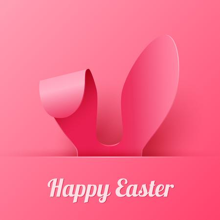 Wektor Happy Easter Greeting Card z koloru papieru Wielkanoc Uszy na różowym tle