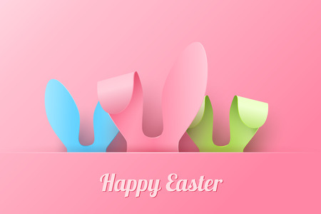 happy: Vector Happy Easter Greeting Card with Color Paper Easter Ears on Pink  Background Stock Photo