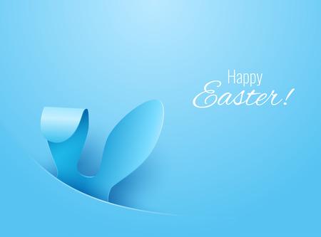 Tarjeta de felicitación del vector Feliz Pascua con los oídos del color del papel de Pascua en el fondo azul