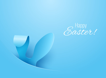Vector Happy Easter Greeting Card with Color Paper Easter Ears on Blue Background Stock Illustratie