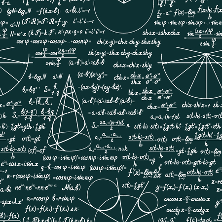 mathematical proof: Vector mathematics seamless pattern with different signs, figures, formulas and graphs of functions. Math green chalkboard background