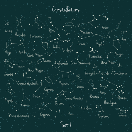 hercules: Vector big set of 45 constellations on green retro background. Astronomy education school set