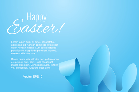 Vector Happy Easter Greeting Card with Color Paper Easter Ears on Blue Background Stock Photo