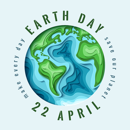 globe logo: World Earth day concept. 3d paper cut eco friendly design. Vector illustration.  Paper carving Earth map shapes with shadow. Save the Earth concept. April 22