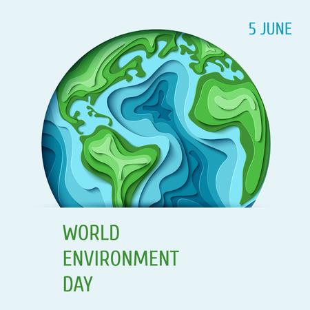 世界环境日的概念。3d剪纸环保设计。矢量插图。纸雕刻地球地图形状与阴影。拯救地球的概念