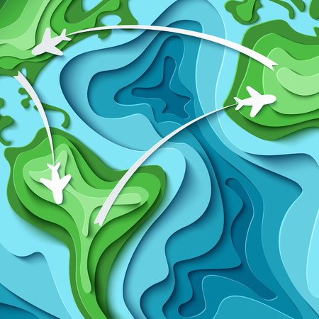 Paper planes flying across world map. Around the World - travel concept. 3d paper cut tourism design. Time to travel vector illustration. Vacation concept background Stock Illustration - 78113777