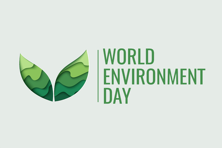Concetto di giorno del mondo dell'ambiente. 3d carta tagliata eco friendly design. Illustrazione vettoriale. Strato di intaglio di carta foglie verde forma con ombra