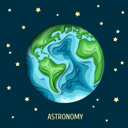 천문학 배경입니다. 3d 종이 잘라 어두운 공간 벡터 일러스트에서 지구. 종이 조각 별과 어두운 배경에 그림자와 지구지도 셰이프를 조각