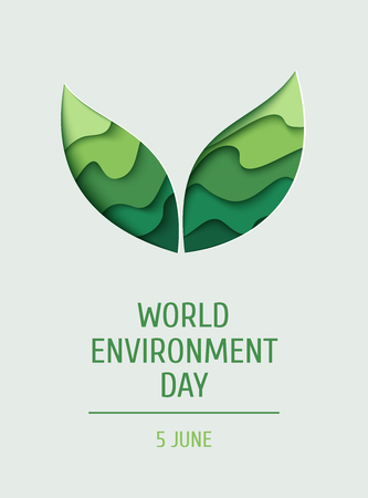世界环境日概念横幅。3d剪纸环保背景。矢量插图。纸雕层绿叶形状带阴影