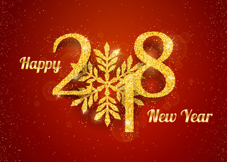numbers abstract: 2018 Happy New Year Background with golden glitter numbers on red background. Vector holiday design for your flyer banner and greeting cards Stock Photo