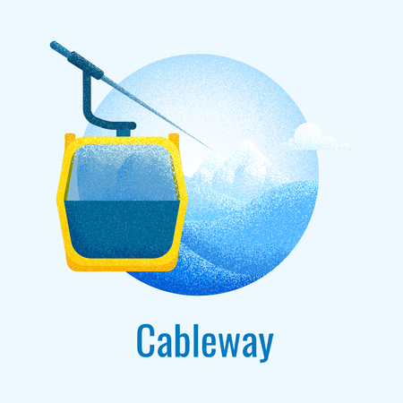 Ski cableway retro banner. Winter mountain landscape backgroundwith ski lift cabine. Vector poster for skiing resort