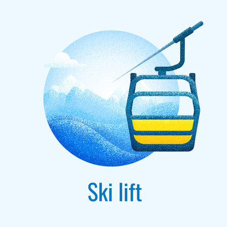 Ski lift retro banner. Winter mountain landscape background with cableway cabine. Vector poster for skiing resort