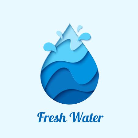 Fresh water drop emblem design template