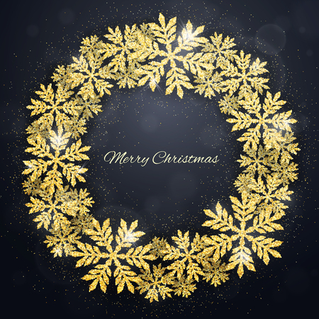 Merry Christmas and Happy New Year greeting card with gold glittering snowflakes wreath on dark background. Winter seasonal holiday background with circlet of snowflakes