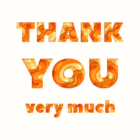 Thank you greeting card. 3d paper cut concept design. Vector paper carving typographical background Illustration