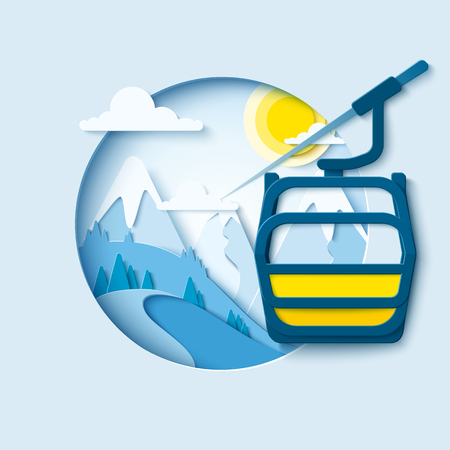 Ski  lift paper cut banner. Winter mountain paper landscape background with ski cableway cabine. Vector poster for skiing resort