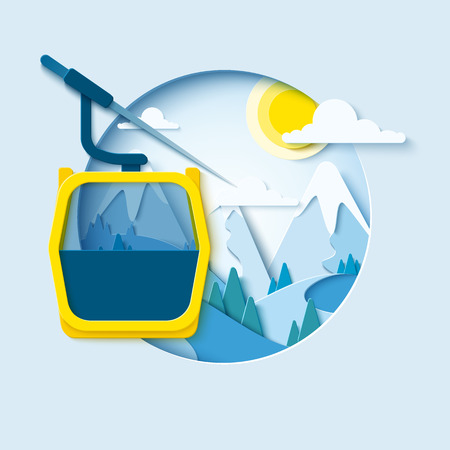 Ski cableway paper cut banner. Winter mountain paper landscape background with ski lift cabine. Vector poster for skiing resort Banco de Imagens