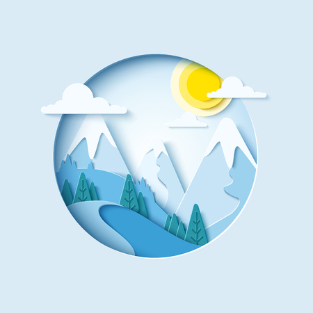 Winter mountain paper cut landscape background. Vector banner for skiing resort