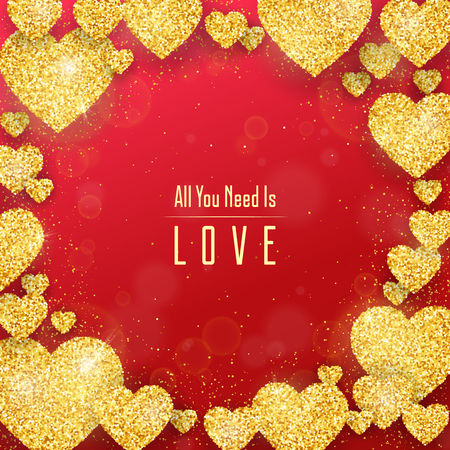 Happy Valentines Day greeting card with gold glittering hearts pattern on red background. Vector banner, flyer, poster template.