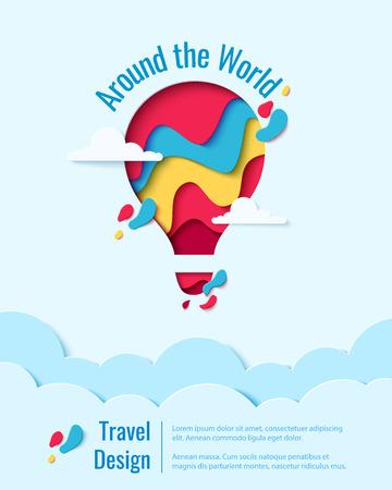 Around the World-documentkunstconcept hete luchtballon in hemel over wolken. Vector reizen origami papier gesneden banner sjabloon