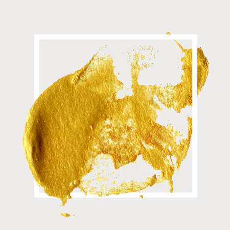 Gold hand drawn paint brush stroke with frame. Abstract vector golden acrylic smear spot. High detailed gold glittering textured palette knife paint stroke Stock Photo