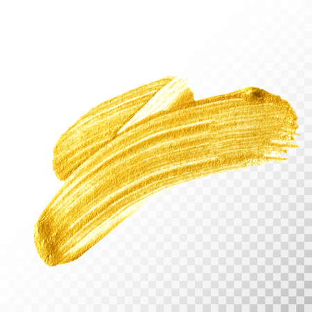 Gold hand drawn paint brush stroke isolated on transparent background. Abstract vector golden acrylic smear spot. High detailed gold glittering textured palette knife paint stroke