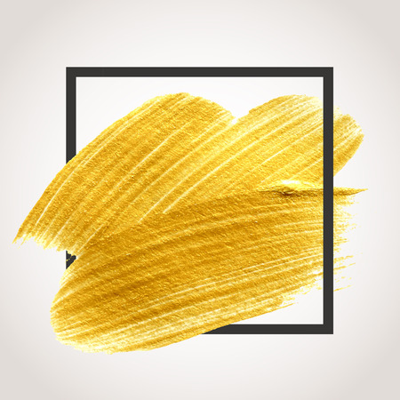 Gold hand drawn paint brush stroke with black frame. Abstract vector golden acrylic smear spot. Stock Illustratie