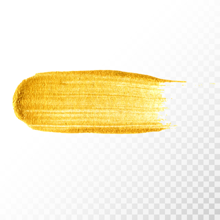 Gold hand drawn paint brush stroke isolated on transparent background. Abstract vector golden acrylic smear spot. High detailed gold glittering textured paint stroke Stock Photo