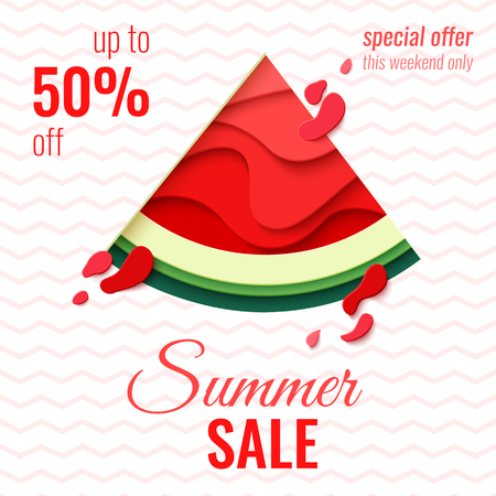 Summer Sale template banner. Paper cut watermelon vector background. Bright paper craft poster.