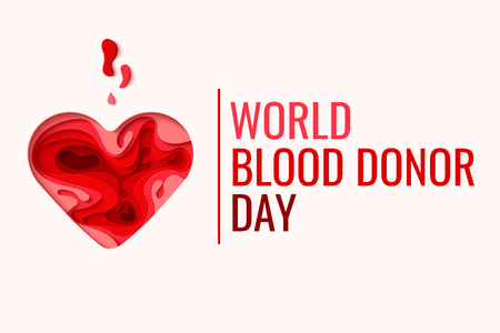 World Blood Donor Day vector background. Awareness poster with red paper cut blood heart. Hemophilia day concept