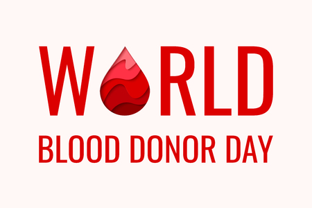 World Blood Donor Day vector background. Awareness poster with red paper cut blood drop. 14 june. Hemophilia day concept Illustration