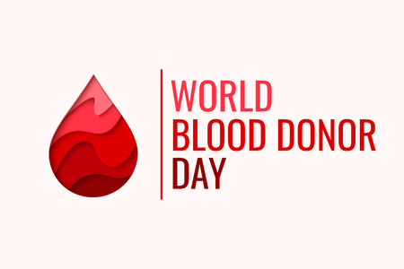World Blood Donor Day vector background. Awareness poster with red paper cut blood drop. 14 june. Hemophilia day concept Stock Photo