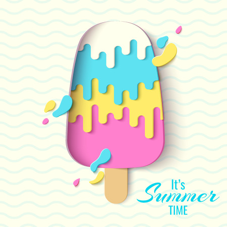 Summer Time Template Banner. Paper Cut Ice Cream Vector Background ...