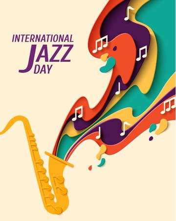International Jazz Day - poster in stile taglio carta da musica per festival jazz o festa retrò blues notturno con sassofono e note. Priorità bassa di musica dell'annata del mestiere di carta di vettore Vettoriali