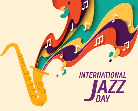 International Jazz Day - music paper cut style poster for jazz festival or night blues retro party with saxophone and notes. Vector paper craft vintage music background Imagens - 100550831