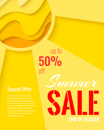Summer Sale template banner. Paper cut sun vector background. Sunny paper craft poster.