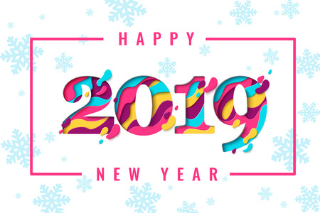 2019 Happy New Year paper craft holiday background with snowflakes pattern. Vector winter holiday greeting card with paper cut numbers 2019 design for seasonal flyers, banners, posters.