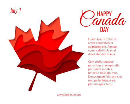 Happy Canada Day vector holiday background with red paper cut Canada maple leaf. 1st of July celebration, paper craft banner. Illustration