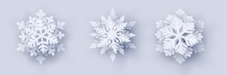 Vector set of 3 white Christmas paper cut 3d snowflakes with shadow on white background. New year and Christmas design elements Illustration