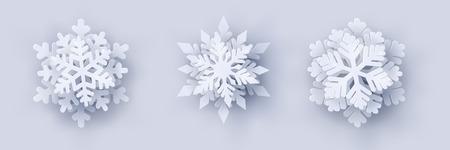 Vector conjunto de 3 copos de nieve 3d de corte de papel de Navidad blanco con sombra sobre fondo blanco. Elementos de diseño de año nuevo y Navidad. Ilustración de vector