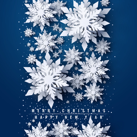 Vector Merry Christmas and Happy New Year greeting card design with white layered paper cut snowflakes on blue background. Seasonal Christmas and New Year holidays paper art banner, poster template Illustration