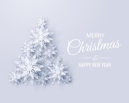 Conception de carte de voeux joyeux Noël et bonne année de vecteur avec arbre de Noël en flocons de neige découpés en papier réaliste. Fond de métier de papier vacances saisonnières de Noël et du nouvel an