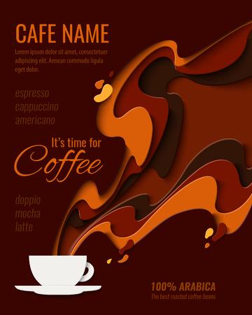 Design del menu del caffè - poster in stile taglio di carta per caffetteria, bar o ristorante. Priorità bassa dell'aroma del caffè dell'annata del mestiere di carta di vettore, banner, volantino pubblicitario