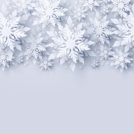 Vector Merry Christmas and Happy New Year greeting card design with white realistic 3d layered paper cut snowflakes. Seasonal Christmas and New Year holidays paper art background 写真素材