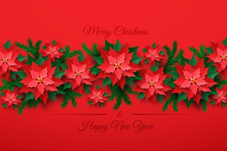 Vector árbol de Navidad rojo hecho de flor de nochebuena en capas 3d en estilo de corte de papel sobre fondo rojo. Feliz año nuevo y feliz Navidad plantilla de diseño de tarjeta de felicitación